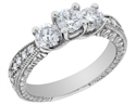 Foto Vintage Style Three Stone Diamond Engagement Ring de